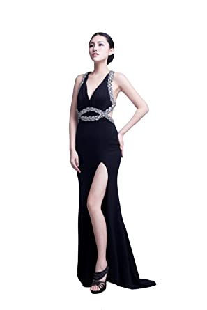 YiYaDawn Womens Long Backless Prom Party Dress Evening Gown Size 20 UK Black