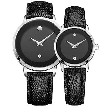 GJJ Relojes para Parejas - Reloj de Estudiante de Cuero para Mujer - Reloj de Hombre