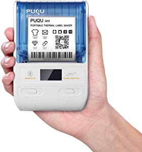PUQU Label Maker | Portable Bluetooth Thermal Label Printer Q00 with Rechargeable Battery, Apply to Clothing, Jewelry, Retail, Mailing, Barcode and More, Compatible for Android & iOS System