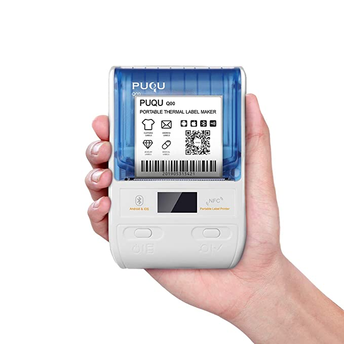 PUQU Impresora de Etiquetas inalámbricas, Portátil Bluetooth Térmico Etiqueta Maker Q00 con Batería Recargable, Tamaño de Bolsillo e Impresión HD para ...