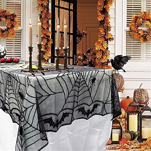 "96"" x 48'' Halloween Table Cloth Spider Web Table Linens Black Lace Tablecloth Fireplace Scarf Halloween Table Decor (Black, 96""x48""-2 Pack) by Interlink-UK"