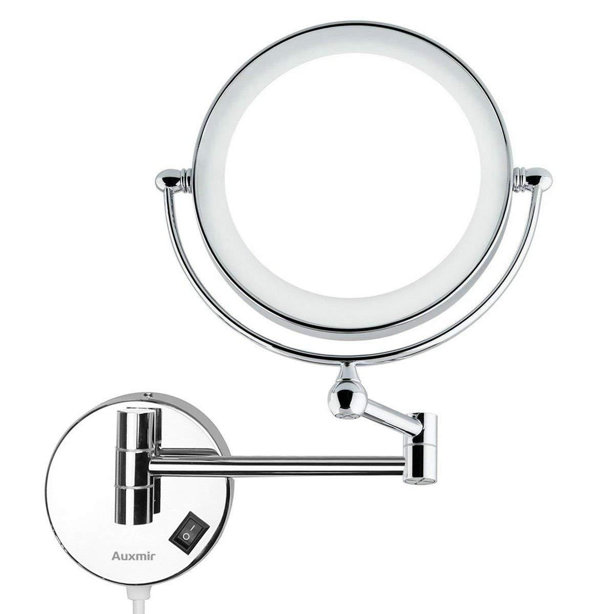 Auxmir Kosmetikspiegel mit LED Beleuchtung und 1-  5-facher Vergrößerung aus Kristallglas, Edelstahl und Messing für Badezimmer, Kosmetikstudio, Spa und Hotel