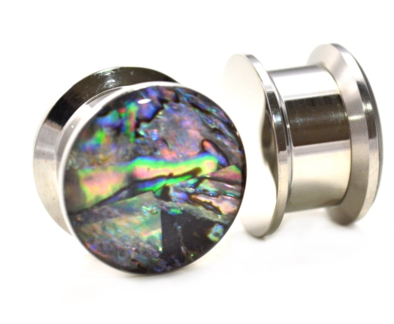 Pair (2) Wild Abalone Shell Inlay Ear Plugs Stainless Steel Screw Fit Stash Gauges - 9/16'' 14MM by BYB Plugs (Image #1)