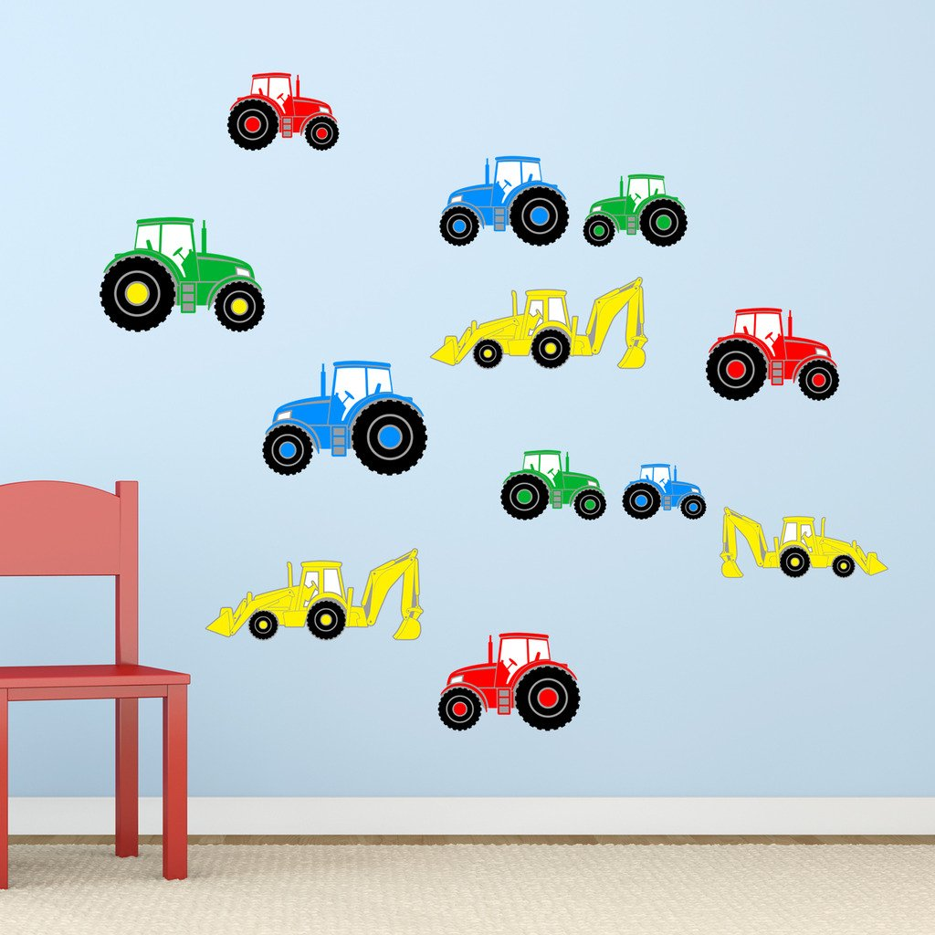 Tractor digger boys farm vehicles childrens nursery printed tractor digger boys farm vehicles childrens nursery printed wall art vinyl stickers designed by rubybloom designs amazon kitchen home amipublicfo Gallery