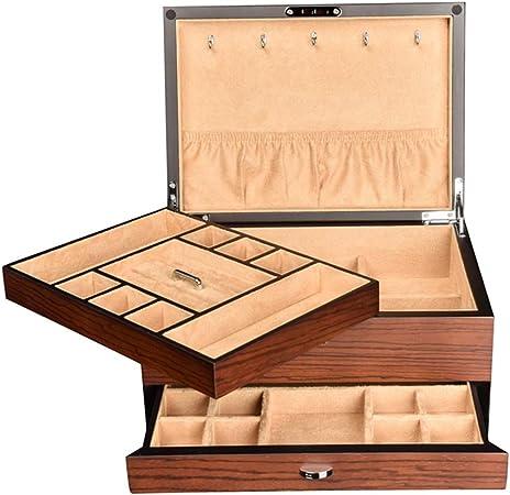 CCET Caja De Almacenamiento De Madera, Retro 3 Capas De Gran Capacidad De La Caja Cosmética, Cajas De Regalo, Caja De Visualización, Caja De Vestir, Portátil Estuche De Viaje, 300x217x130mm, 2,9 Kg: