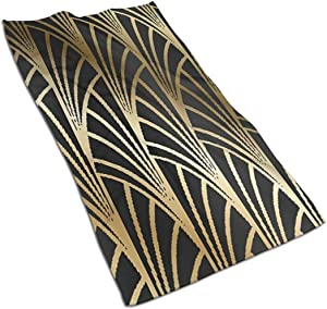 antcreptson Art Nouveau, Art Deco, Gold,Black,Pattern Home Decorative Highly Absorbent Large Decorative Hand Towels Multipurpose for Bathroom, Hotel, Gym and Spa (16 x 30 Inches)