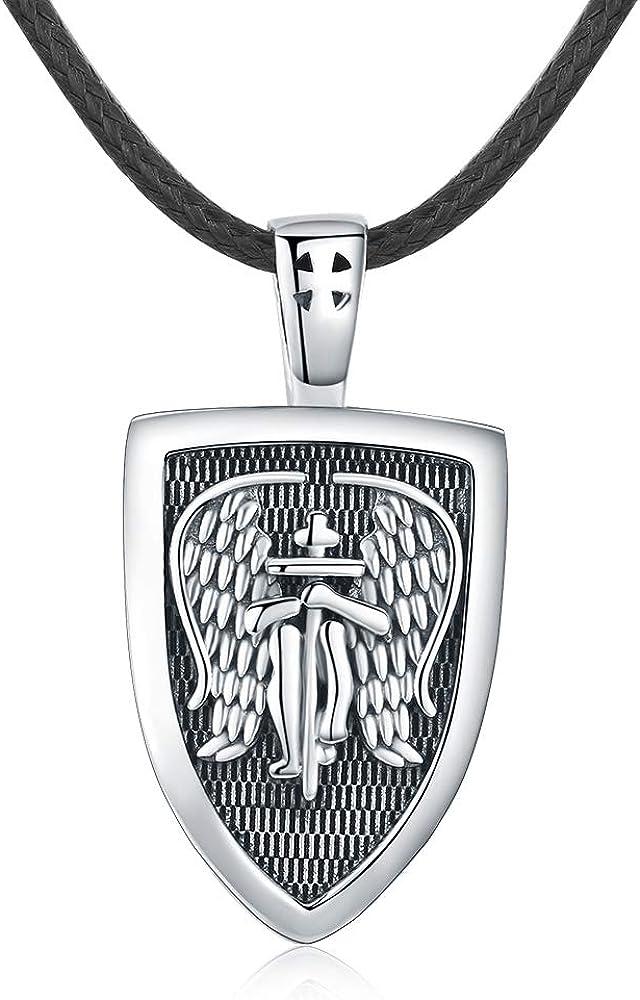 Collar Ángel de la Guardián para Hombre, Plata de Ley 925 Medalla de Arcángel San Miguel Amuleto Colgante Ángel Cruz Collar Joyas Regalos con Cuerda de Cuero Cadena de 22