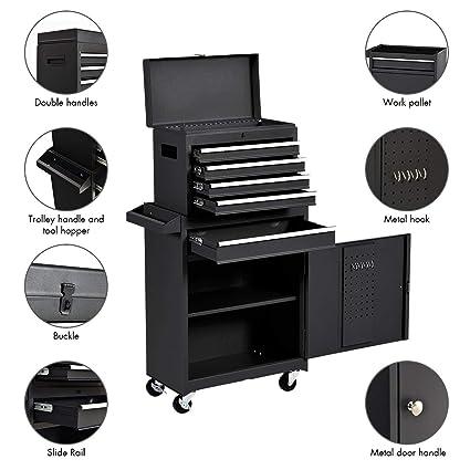 Amazon.com: Goplus - Caja de herramientas con 5 cajones ...