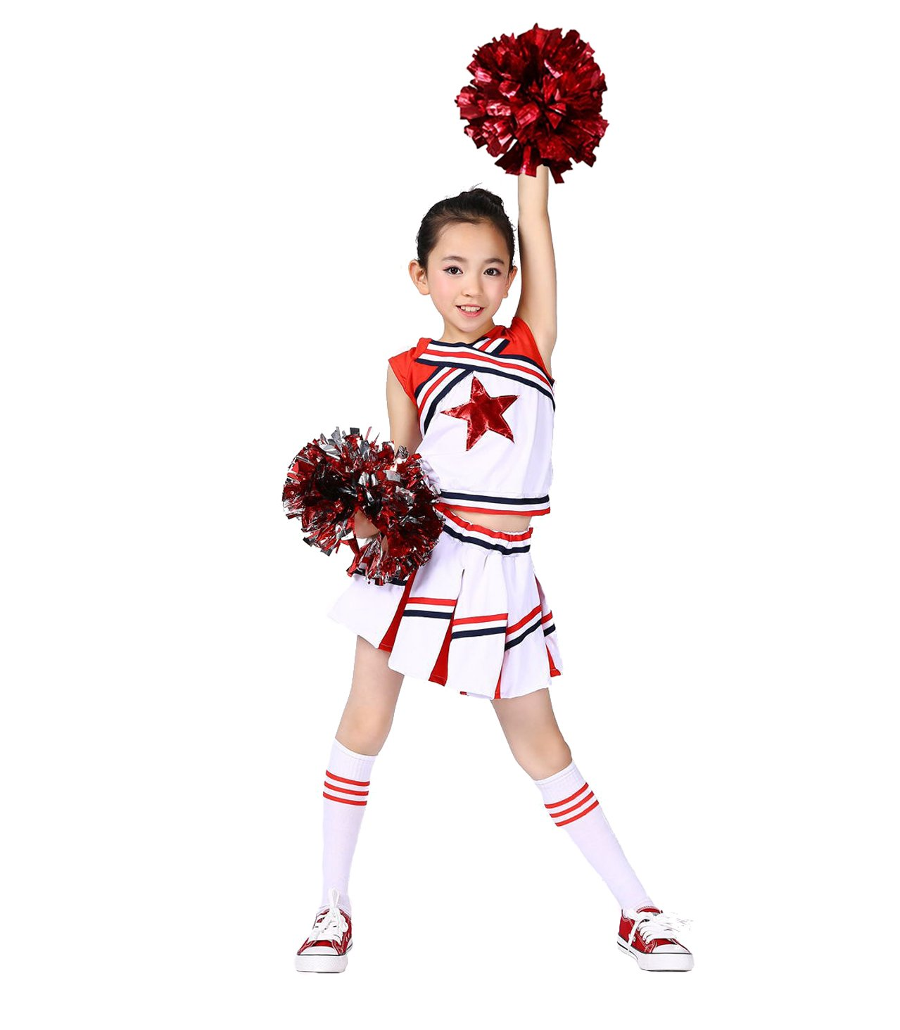 DREAMOWL Girls Cheerleader Uniform Outfit Costume Fun Varsity Brand Youth Red White Match Pom poms (5-6)