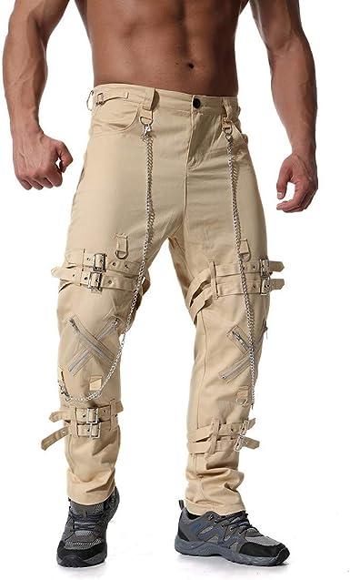 Rawdah_Pantalones Hombre Pantalón Largo de algodón con Cremallera ...