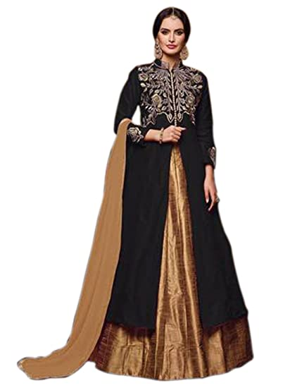 f58794103964 Shoppingover Indo-Western semi stitch Front Open Long Lehenga Style  Anarkali-Black Color: Amazon.in: Clothing & Accessories