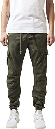 48f7eedcbf2d5 Urban Classics Mens Cargo Pants TB1611 Camo Cargo Jogging Pants Color: olive  camouflage in Size