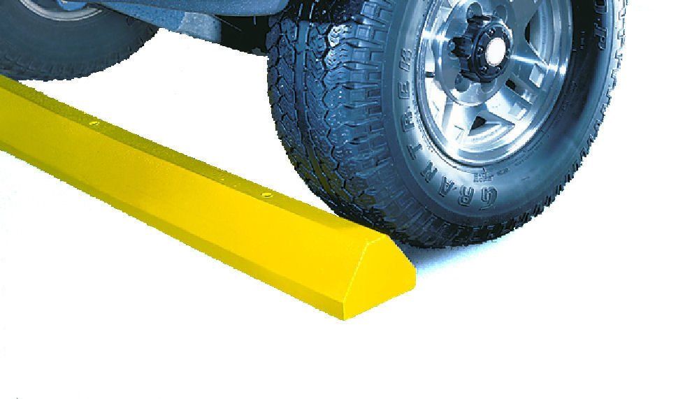 Lotblocks CS6C-SY Plastic Compact Car Parking Stop with Hardware, Yellow, 72'' Length, 6'' Width, 3.25'' Height