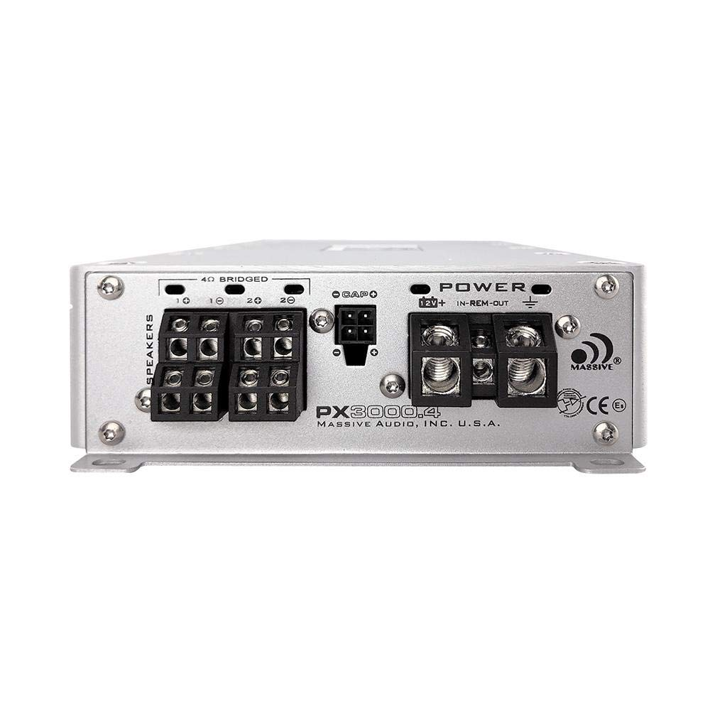 Class D Monoblock Car Amplifier with Bass Boost. Massive Audio P1200.1 Primo Series.1200 Watt 1 Ohm Stable