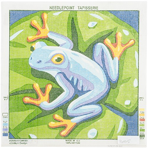 Needleart World Blue Frog Needlepoint Printed Canvas - Frog Needlepoint