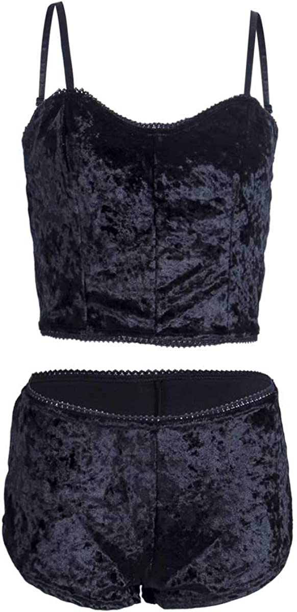 Womens Vintage Velvet 2 Piece Outfit Spaghetti Strap Crop Top and Shorts