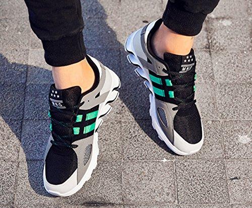 LFEU Chaussure de Sport Homme Running Tissu Tennis Course à Pied Basket Velcro Casuel Confortable Antidérapant 39-44 noir vert 7BYZ8wSYYF