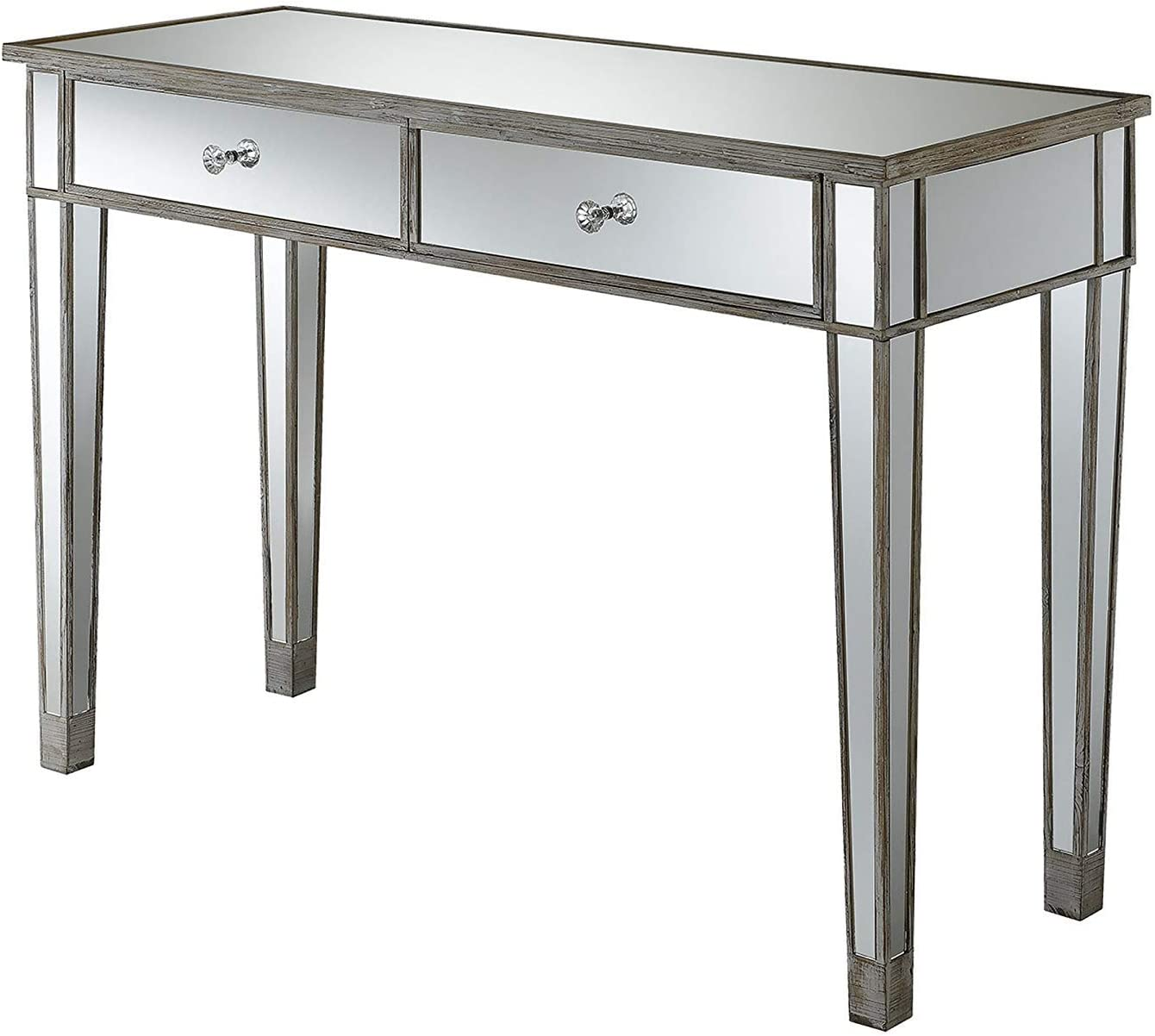 Convenience Concepts Gold Coast Mirrored Desk, Weathered White / Mirror