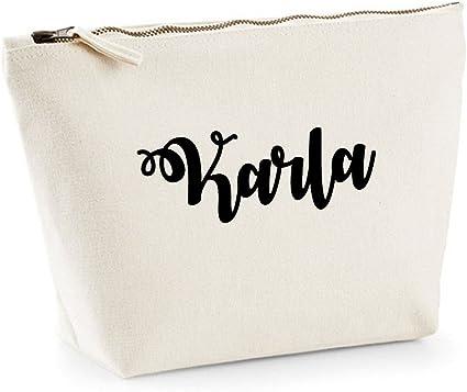Karla nombre personalizado lona de algodón bolsa de accesorios de ...