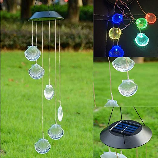 LED Outdoor Solar Wind Chimes Light Colorful Decorative Garden Courtyard Lamp