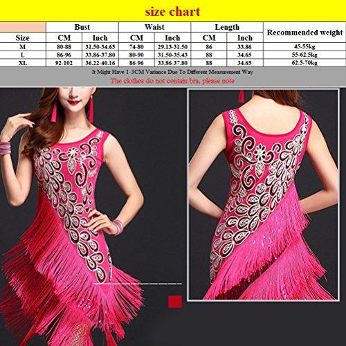 Dress Dancing Latino Zhhlaixing Costumes Womens Fashion Tassel Printing Dance Blue Dark Salsa wOq10a4