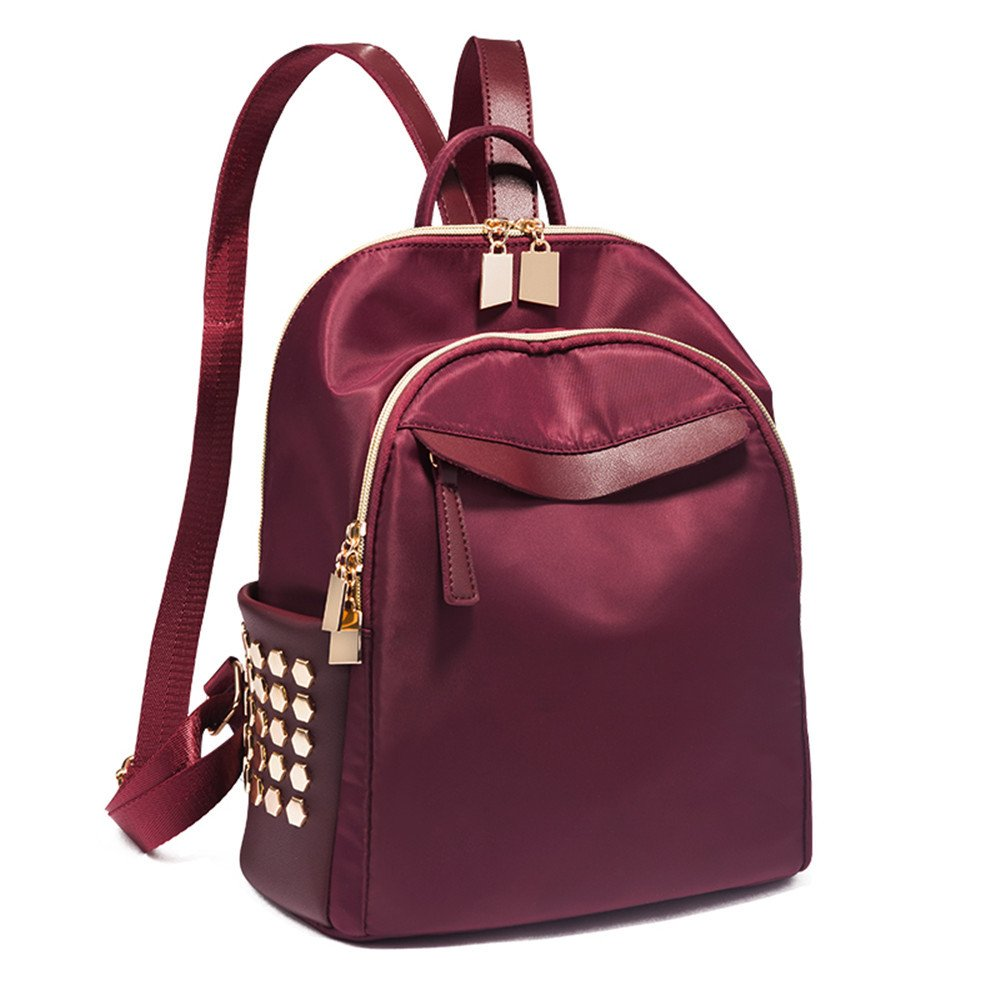 Claret 282614CM Fashion Female AllMatch Backpack Backpack Cloth Bag Bag Student Leisure Oxford,Claret,282614CM