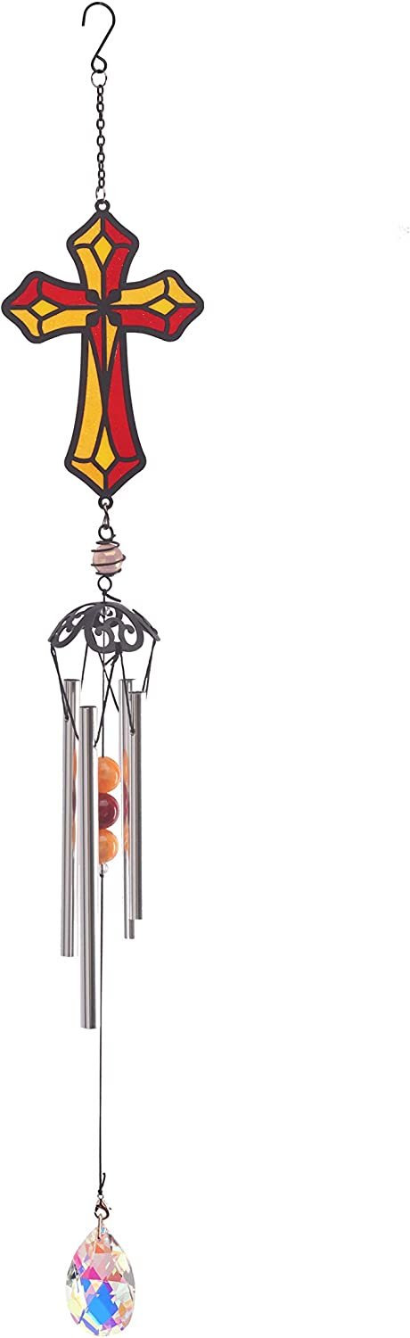 Qctetgon Amazing Home Yoga Zen Wind Chimes Blessed Crystal Shinning WindChimes Patio Garden Outdoor Window Indoor Chimes House Enhancement Church Cross