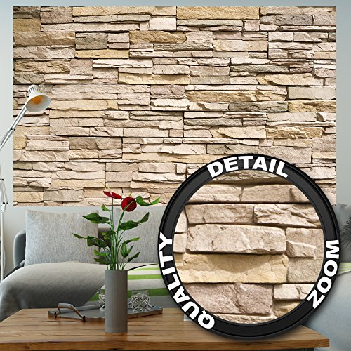 (GREAT ART Wall Mural Stone Optic 3D Design- Decoration Stones Wallpaper Wall Covering Stonewall Slate Sandstone Poster (82.7x55)