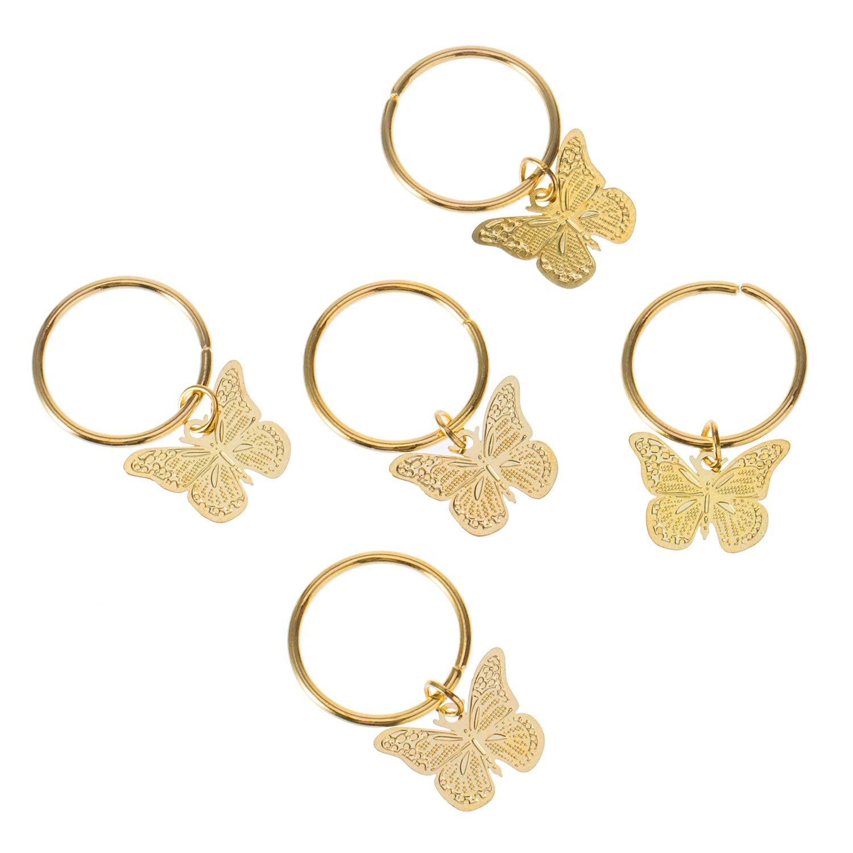 Campanas Estrellas Juego de 50 Piezas de Anillos para el Pelo Anillos de Pelo Anillos Dorados Anillos Colgantes Hojas Anjing Perlas