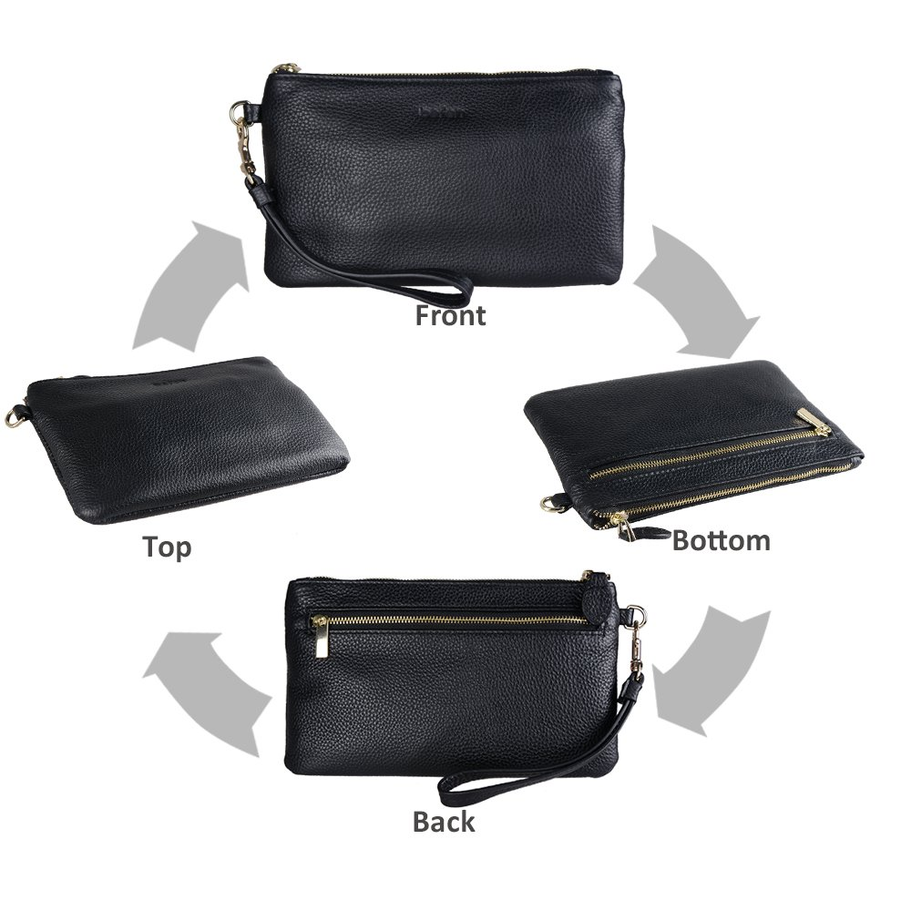 Befen Women Genuine Leather Clutch Wallet, Smartphone Wristlet Purse - Black by befen (Image #5)