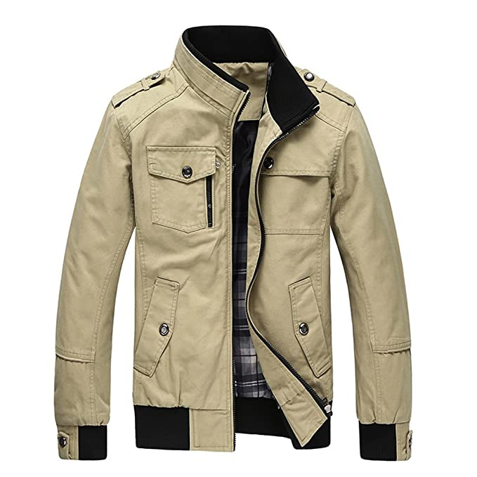 Men s Military Style Air Force Jacket Military Coat Tops  Amazon.co.uk   Clothing d0f224fa254