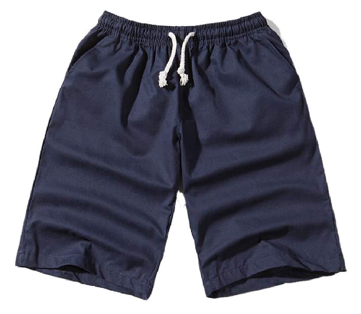 YIhujiuben Mens Loose Casual Lightweight Elastic Waist Cotton Beach Shorts Navy Blue XXXL