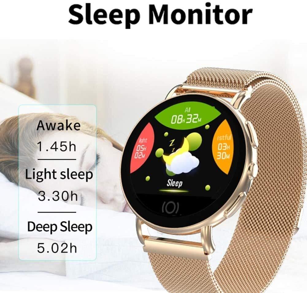 Sportklocka smartklocka för Android och Ios med hjärtfrekvens sömn blodtrycksmätare för män kvinnor (färg: Svart stål) Silverstål
