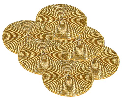 "Prisha India Craft Handmade Golden Beaded Tea Coasters Diameter 4"" Inches, Set of 6"