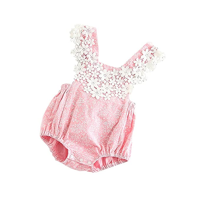 2271cfc0ef3 Genuo Baby Girls Lace Flowers Toddler Newborn Romper Jumpsuit Pink 73