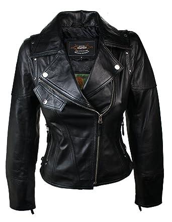 Ladies Women Real Leather Slim Fit Studded Design Biker Jacket ...