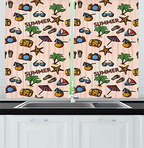 Ambesonne Palm Tree Kitchen Curtains, Coconut Cocktail Starfish Slippers Palms Umbrella Yacht Photo Camera, Window Drapes 2 Panels Set for Kitchen Cafe, 55W X 39L Inches, Peach Light (Palm Tree Slipper)