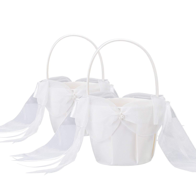 Ivory 13cm BETAULIFE Elegant Satin Bow Flower Girl Basket Ivory 2 pcs//Pack
