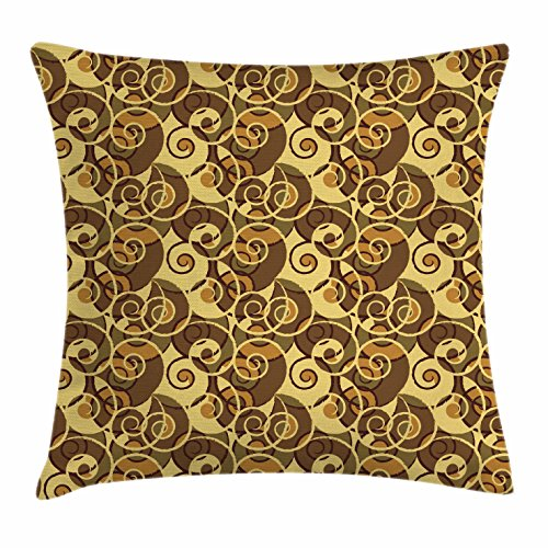 Retro Throw Pillow Cushion Cover by Lunarable, Vintage Classic Style Old Fashion Swirled Lines Baroque Inspired, Decorative Square Accent Pillow Case, 36 X 36 Inches, Pale Yellow Umber Sand - Fashion Baroque Inspired
