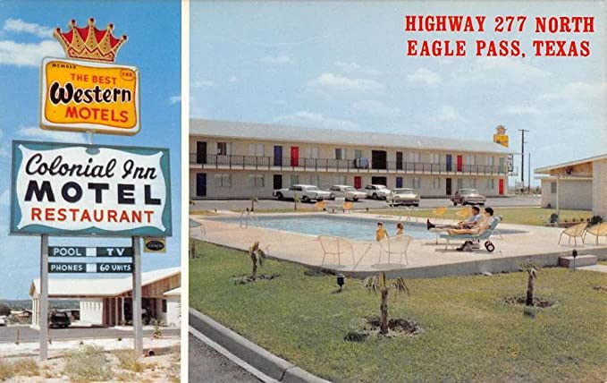 Eagle Pass Texas Colonial Inn Motel Multiview Vintage Postcard K42250