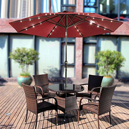 Cheap UBOYS Living LED Lighted 9ft Aluminum Market Umbrella Outdoor Sunshade,wine red