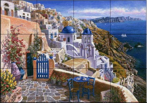 Ceramic Tile Mural - View Of Santorini - by Sam Park/Soho Editions - Kitchen backsplash / Bathroom - Soho Stores