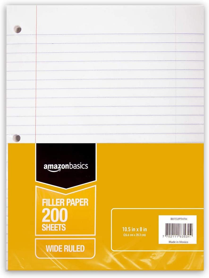 AmazonBasics Wide Ruled Loose Leaf Filler Paper, 200 Sheet, 10.5 x 8 Inch, 6-Pack