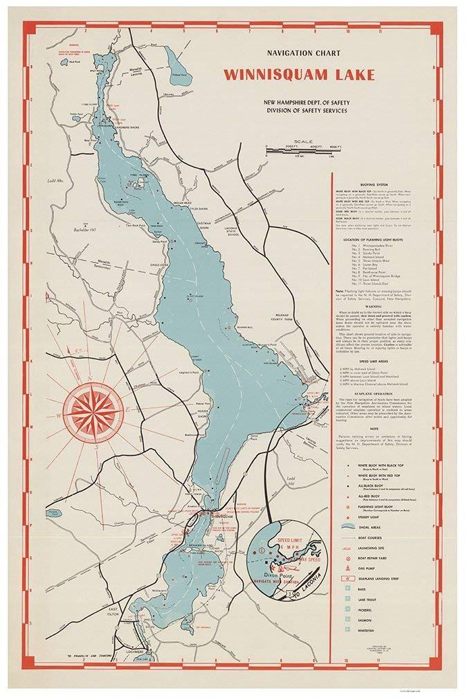 map of lake winnisquam nh Amazon Com Lake Winnisquam 1964 Navigation Map Islands Coves map of lake winnisquam nh