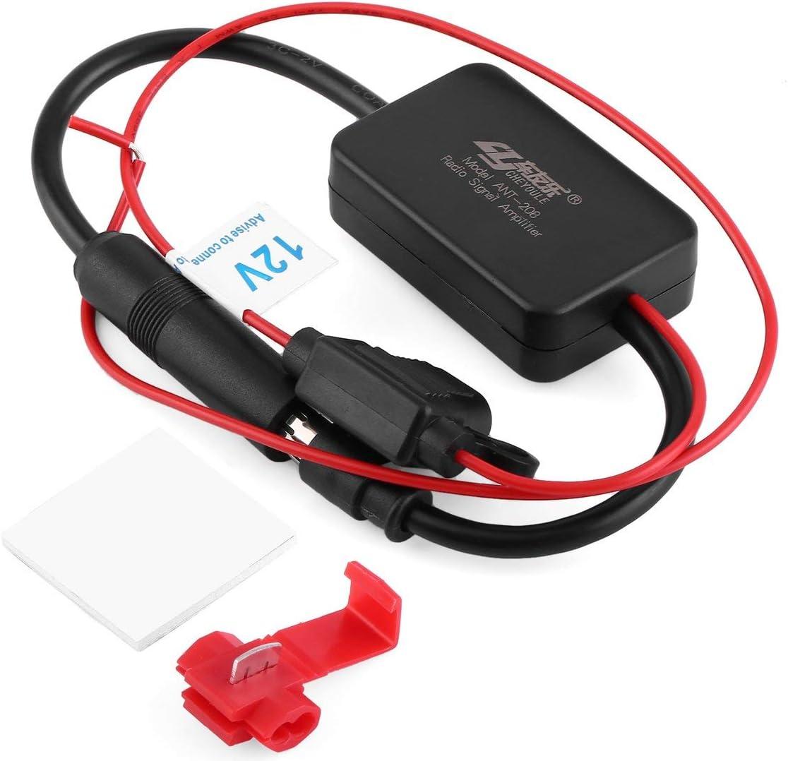 Autom/óvil Radio Coche 12V Amplificador de la se/ñal ANT-208 Veh/ículos Auto FM Amplificador de Antena para la Ampliaci/ón de se/ñales Negro