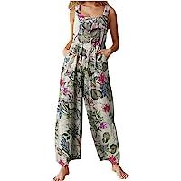 Women Printed Jumpsuit Wide Leg Loose Bib Overall Summer Suspender Baggy Jumpsuit Romper Wide Leg Harem Pants Plus Size