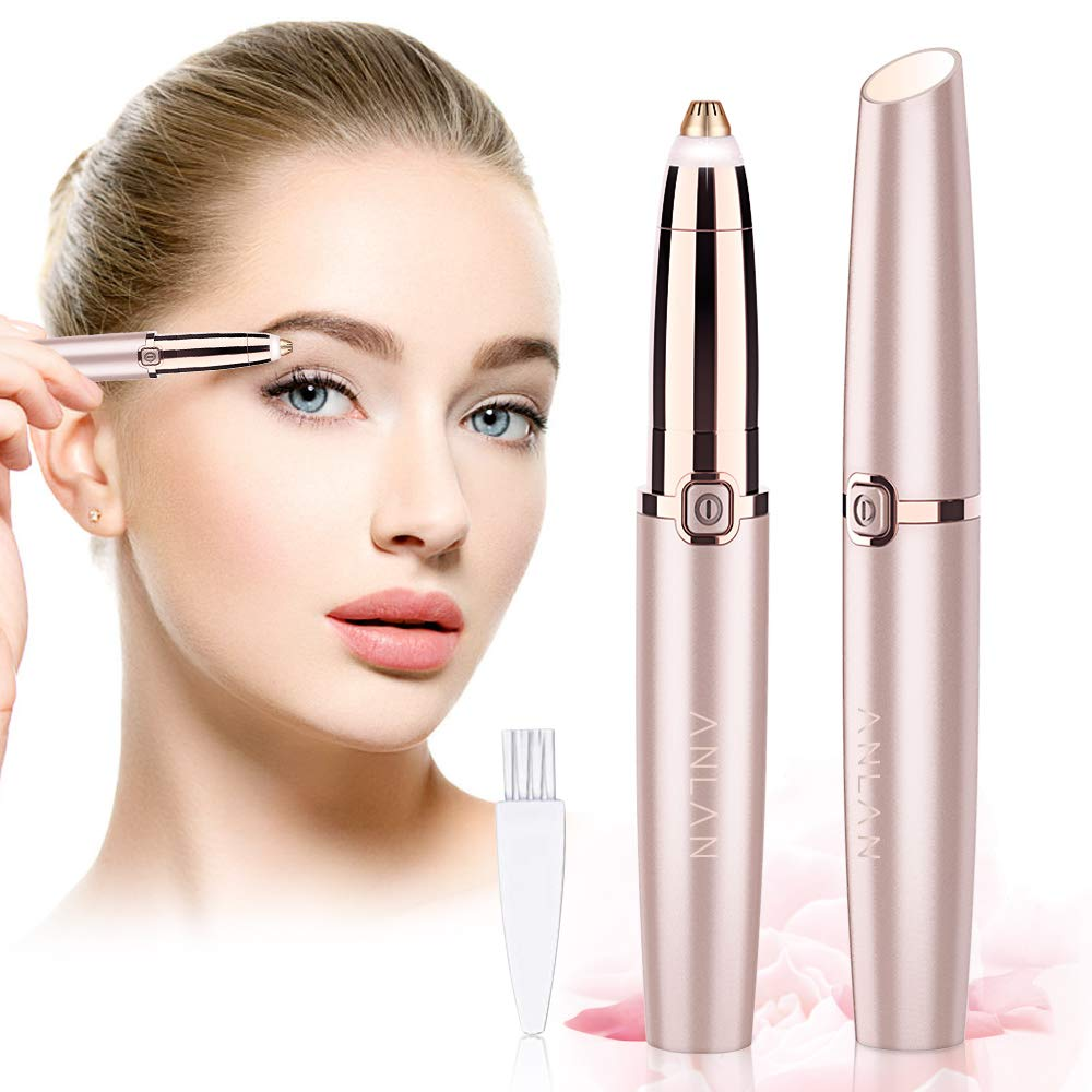 Eyebrow Epilator ANLAN Eyebrow Shaver Trimmer for Women Painless Eyebrow Remover Pro Electric Eyebrow Hair Removal with Light for Face Lips Hand Mini Epilator Eyebrow Hair Remover 18k Eyebrow Trimmer