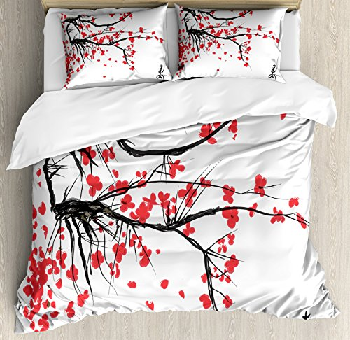 Cherry Blossom Comforter - Ambesonne Nature Duvet Cover Set Queen Size, Sakura Blossom Japanese Cherry Tree Garden Summertime Vintage Cultural Print, Decorative 3 Piece Bedding Set with 2 Pillow Shams, Grey and Vermilion