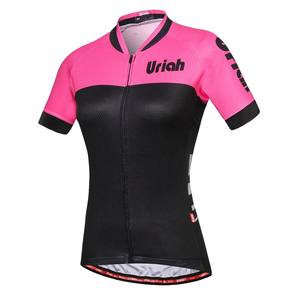Uriah Women's Cycling Jersey Short Sleeve Reflective with Rear Zippered Bag Speed Pink Size M