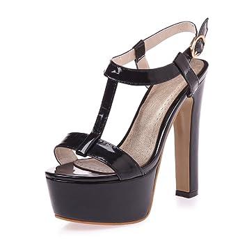 ac16e25753e HN Shoes Womens Platform Block Heel Sandals Chunky Ankle Strap Ladies Peep  Toe Party Shoe Black